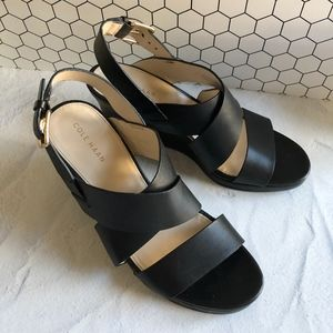 Cole Haan Black Strapy Slingback Wedge Sandals 6.5